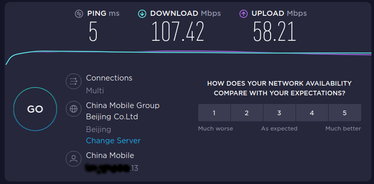 speedtest web result
